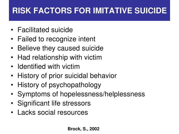 RISK FACTORS FOR IMITATIVE SUICIDE
