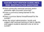 suicide postvention guidelines risk identification questions