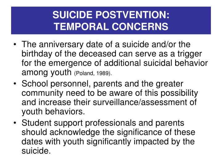 SUICIDE POSTVENTION: