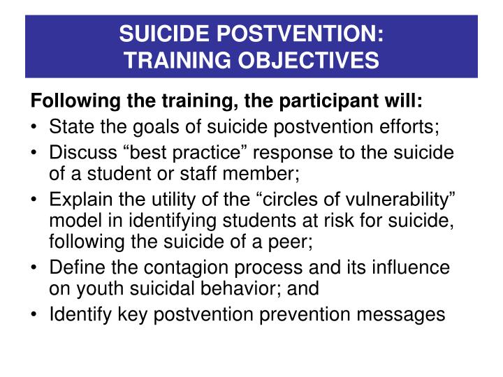 Suicide postvention training objectives