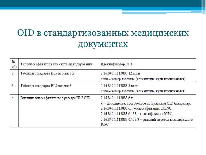OID в стандартизованных медицинских документах