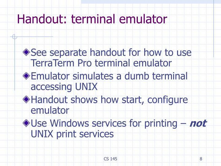 Handout: terminal emulator
