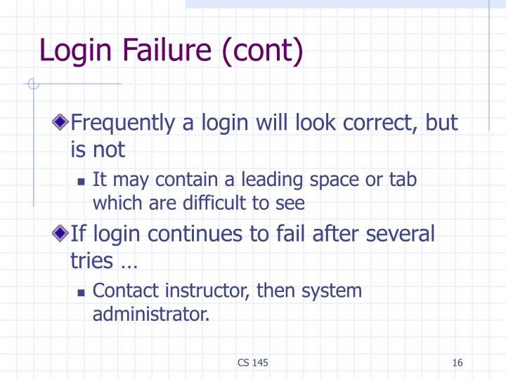 Login Failure (cont)