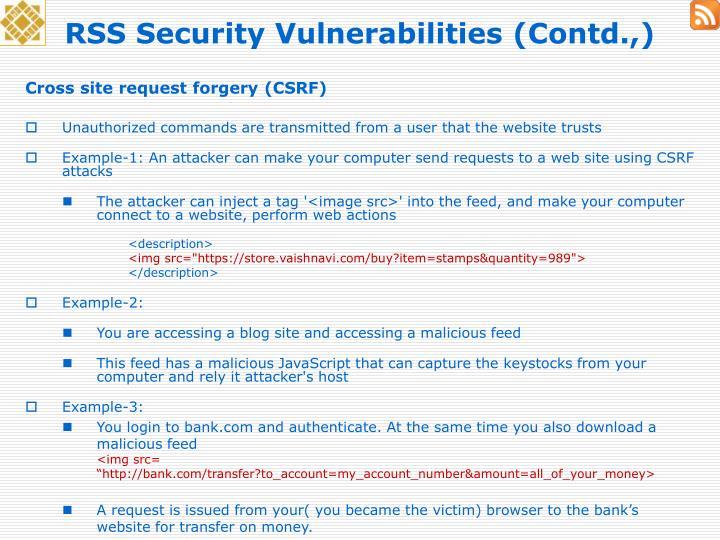 RSS Security Vulnerabilities (Contd.,)