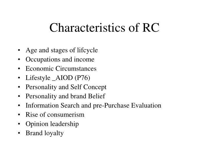 Characteristics of RC