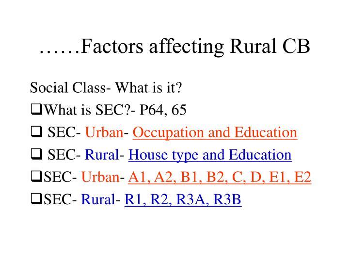 ……Factors affecting Rural CB