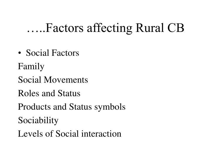…..Factors affecting Rural CB