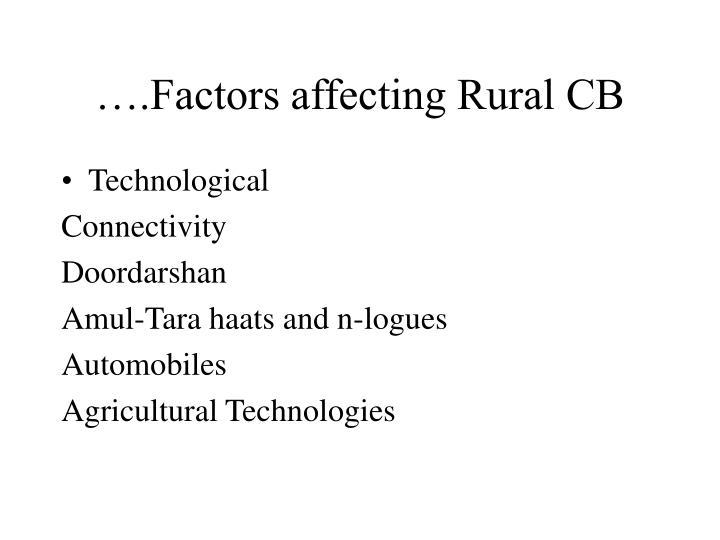 ….Factors affecting Rural CB