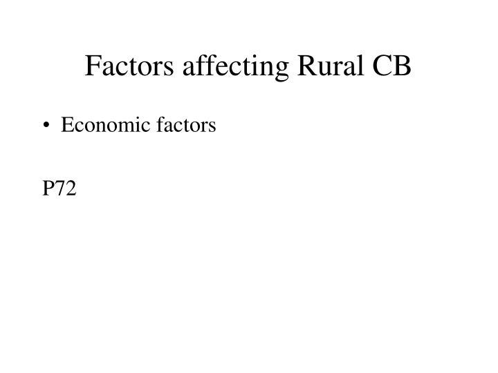 Factors affecting Rural CB