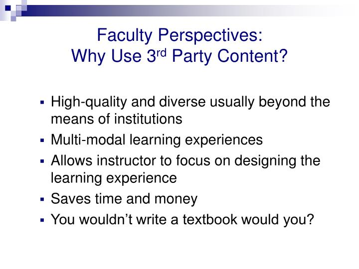 Faculty Perspectives: