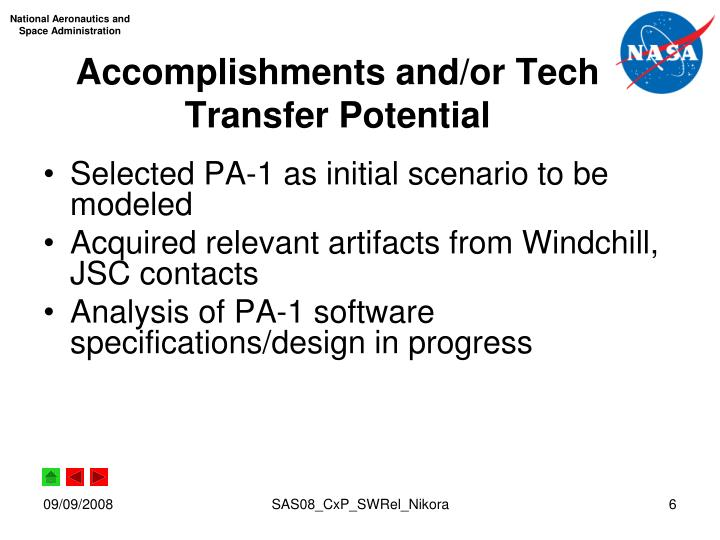 Accomplishments and/or Tech Transfer Potential