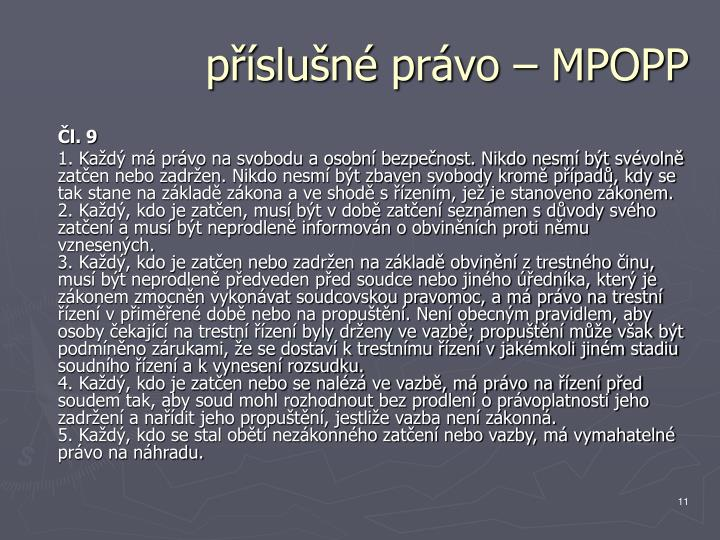 příslušné právo – MPOPP