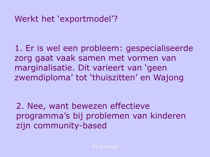 Werkt het 'exportmodel'?