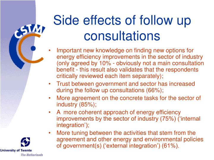 Side effects of follow up consultations