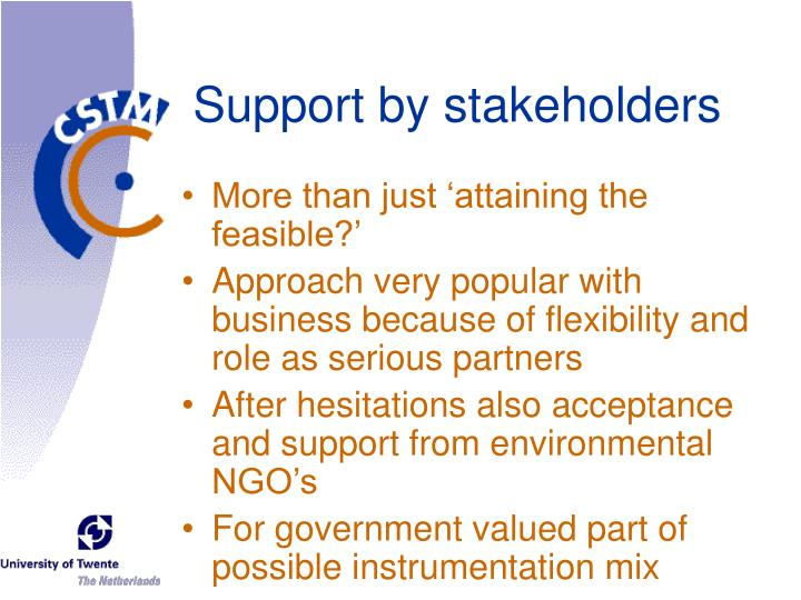 Support by stakeholders