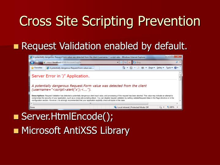 Cross Site Scripting Prevention