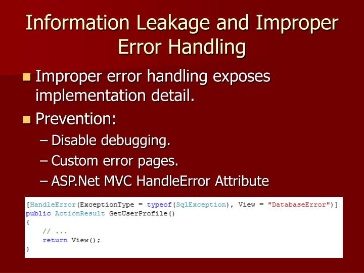 Information Leakage and Improper Error Handling