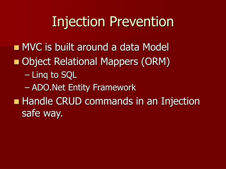 Injection Prevention