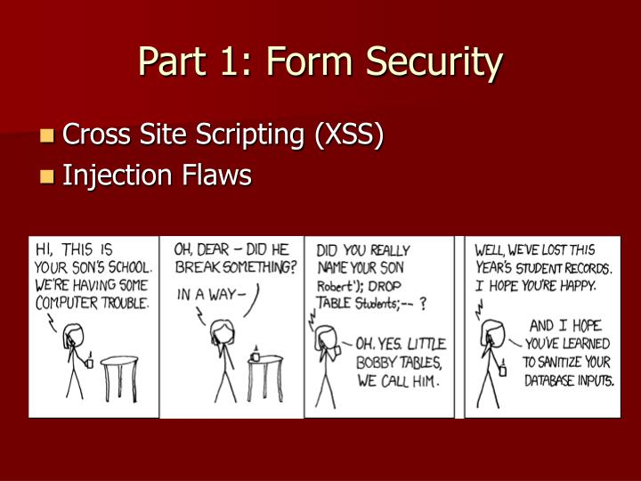 Part 1: Form Security