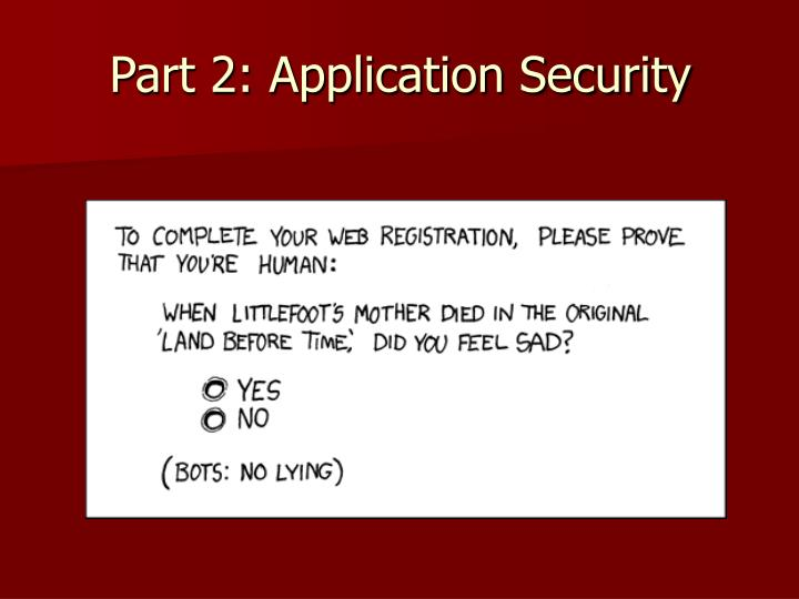 Part 2: Application Security