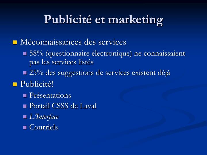 Publicité et marketing