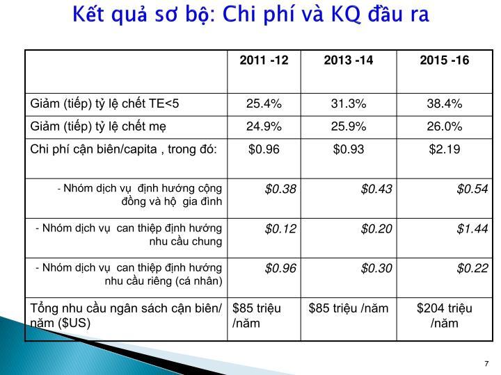 Kết quả sơ bộ: Chi phí và KQ đầu ra