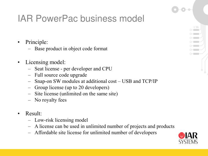 IAR PowerPac business model
