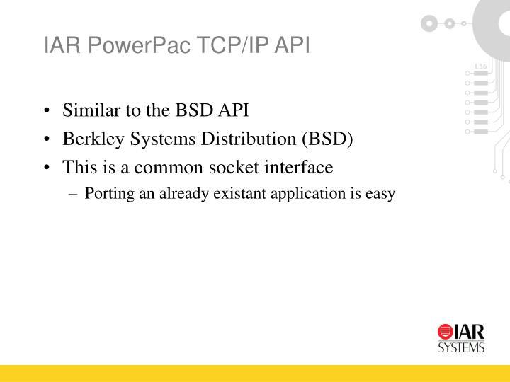 IAR PowerPac TCP/IP API