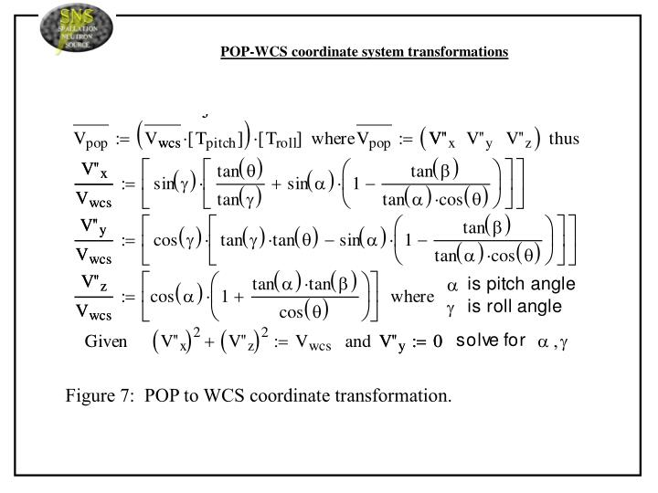 POP-WCS coordinate system transformations