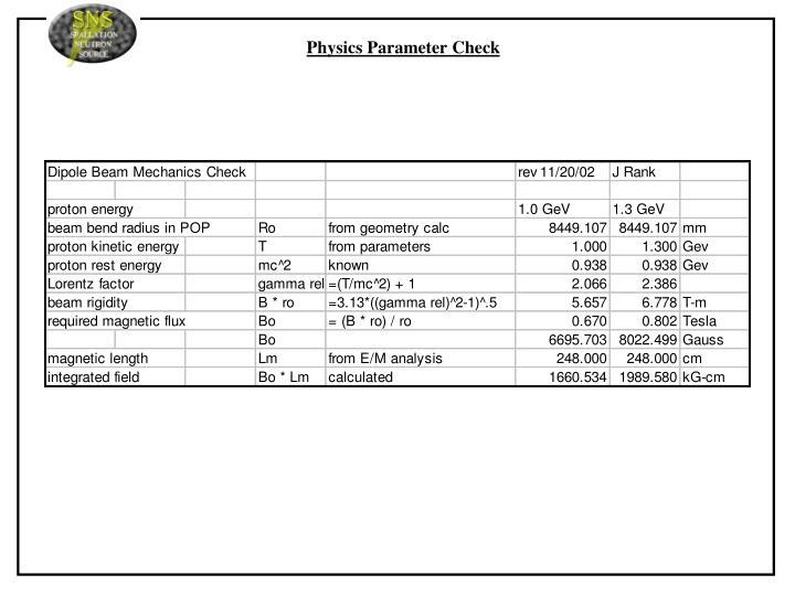 Physics Parameter Check