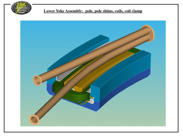 Lower Yoke Assembly:  pole, pole shims, coils, coil clamp