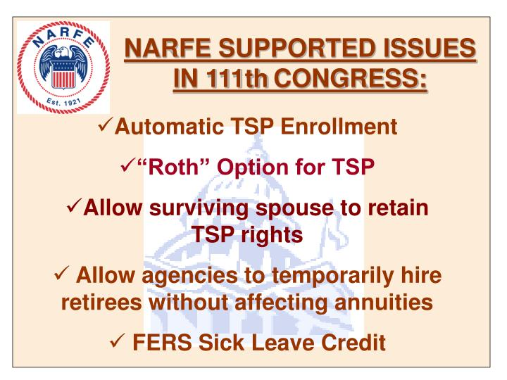 NARFE SUPPORTED ISSUES IN 111th