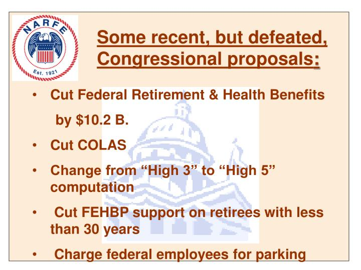 Some recent, but defeated, Congressional proposals