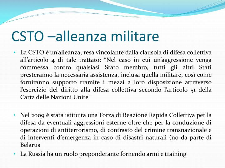 CSTO –alleanza militare