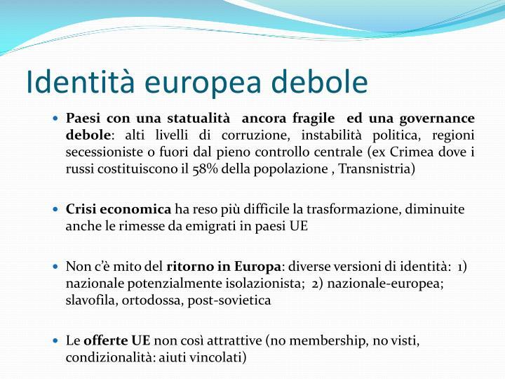 Identità europea debole