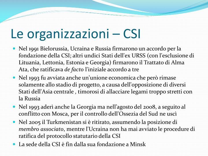 Le organizzazioni – CSI