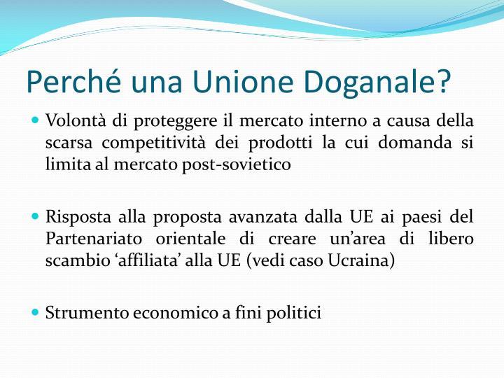 Perché una Unione Doganale?