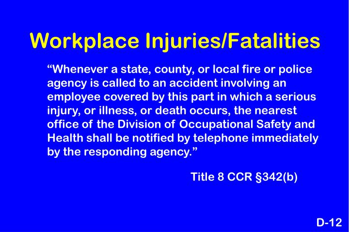 Workplace Injuries/Fatalities