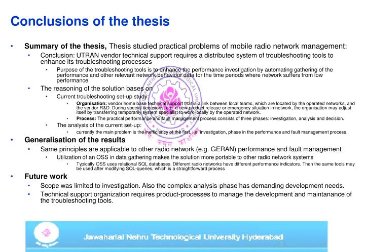 Conclusions of the thesis