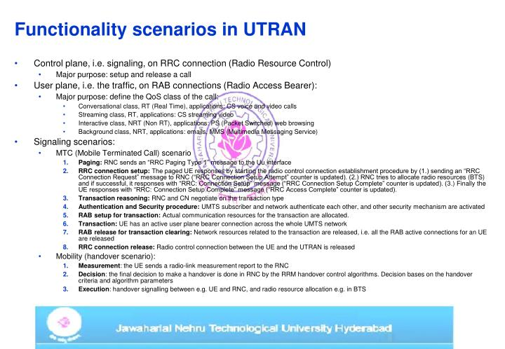 Functionality scenarios in UTRAN