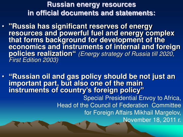 Russian energy resources