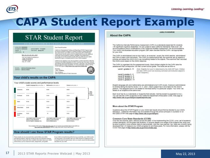CAPA Student Report Example