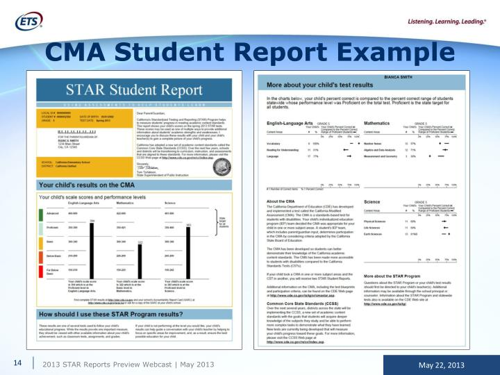 CMA Student Report Example