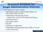 shipment schedule for single administration districts