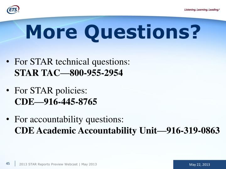For STAR technical questions: