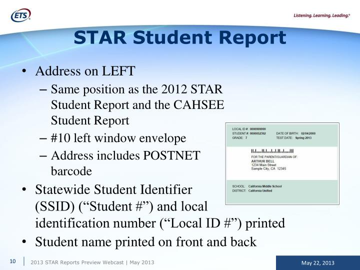 STAR Student Report