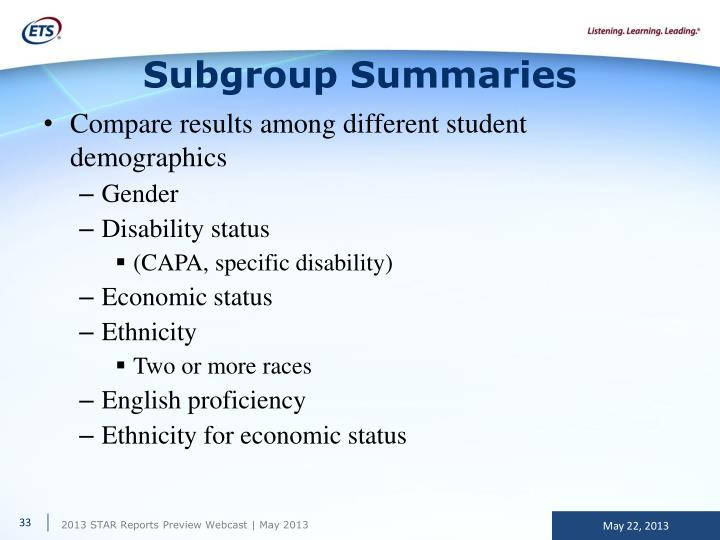 Subgroup Summaries
