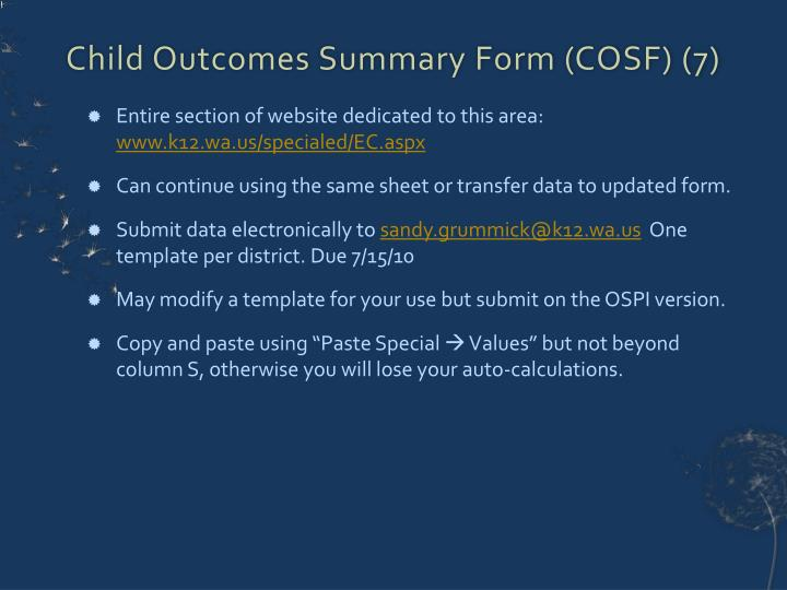 Child Outcomes Summary Form (COSF) (7)