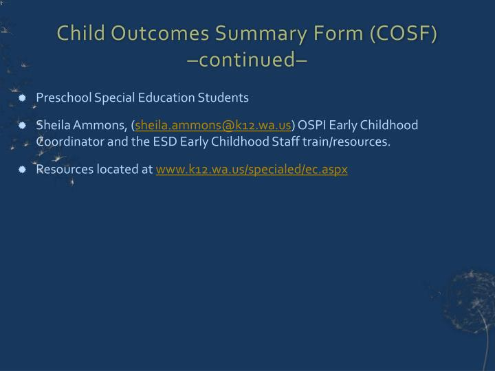 Child Outcomes Summary Form (COSF)
