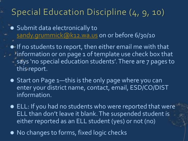 Special Education Discipline (4, 9, 10)